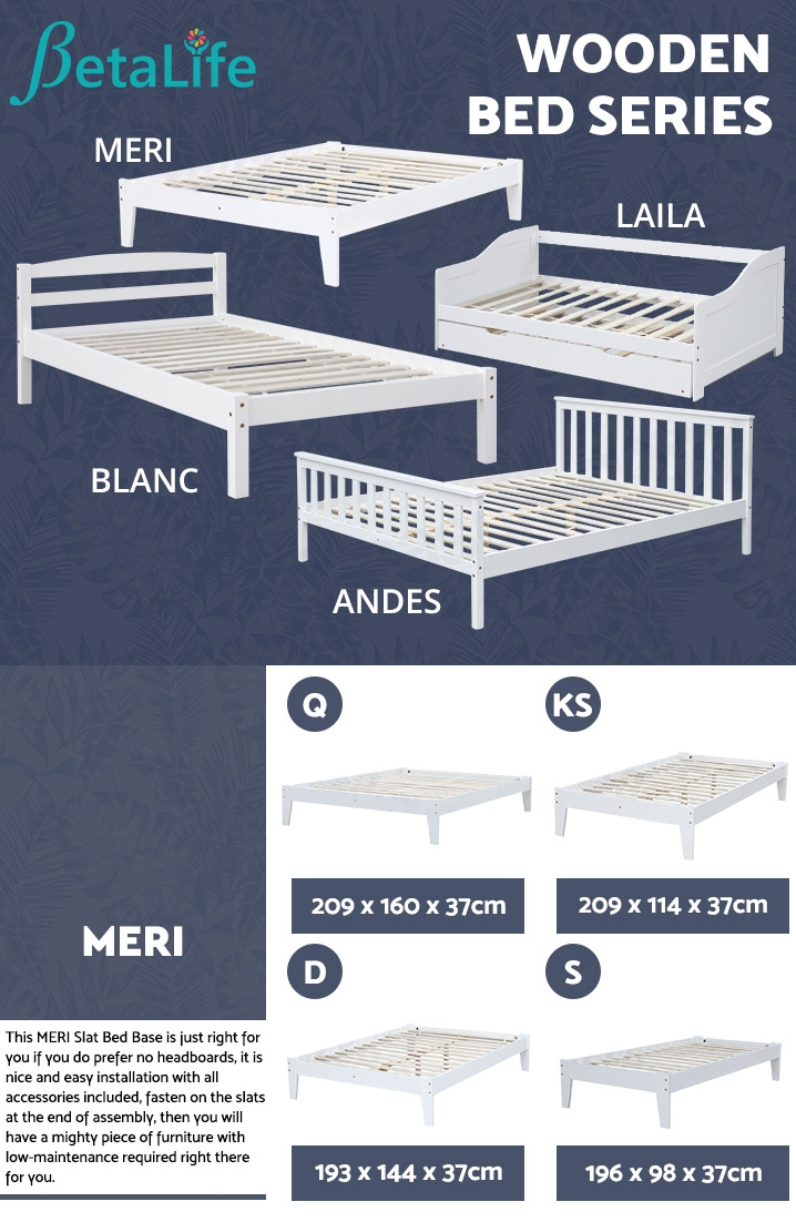 MERI Wooden Slat Bed Base - SINGLE