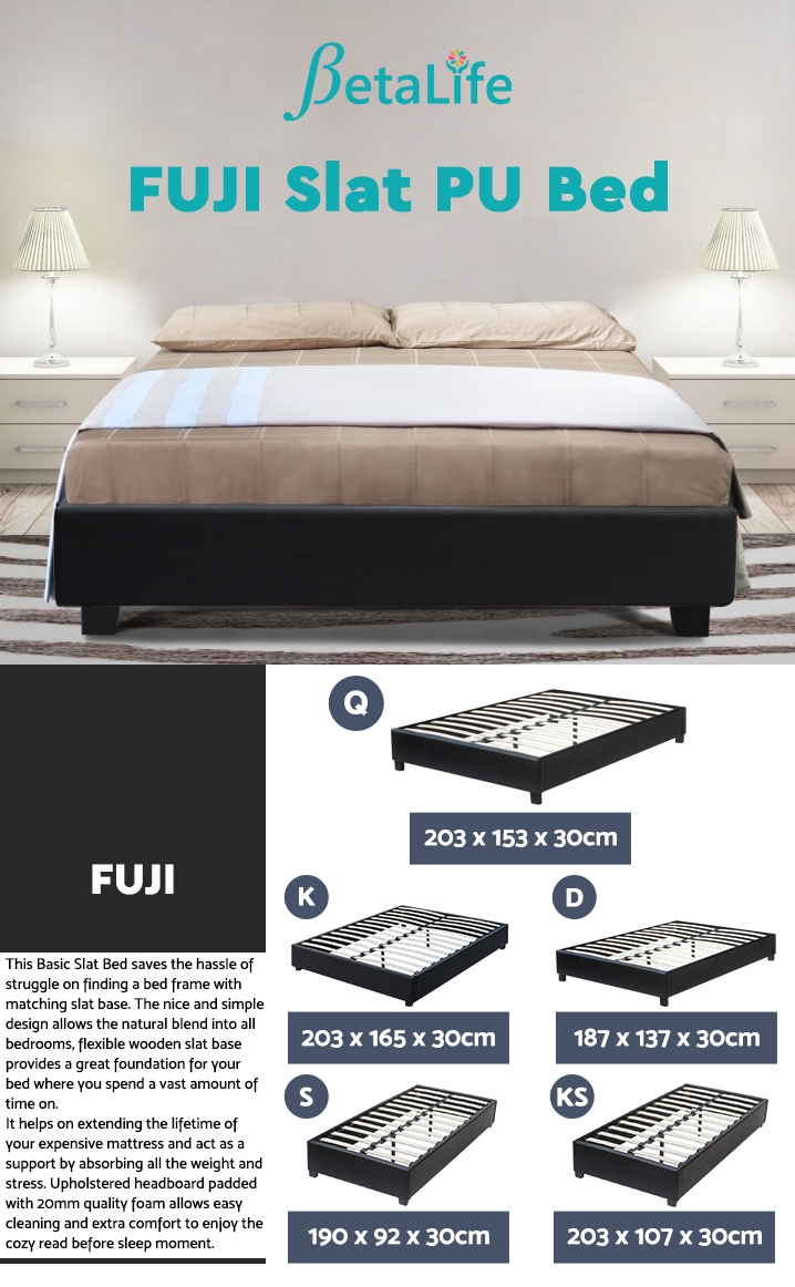 FUJI Queen Slat PU Bed