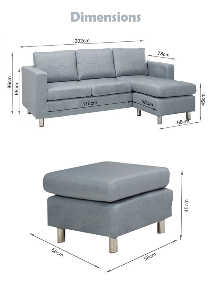 SEATTLE 3-Seater Fabric Sofa Couch with Chaise - GREY