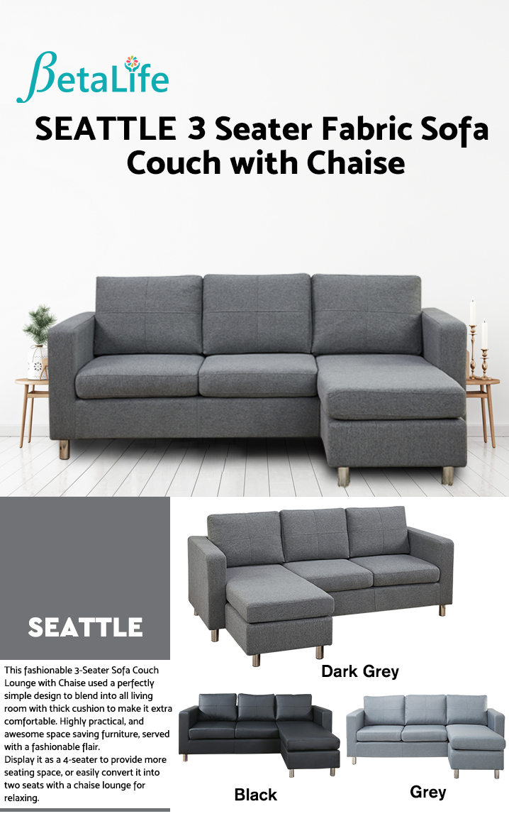 SEATTLE 3-Seater Fabric Sofa Couch with Chaise - DARK GREY