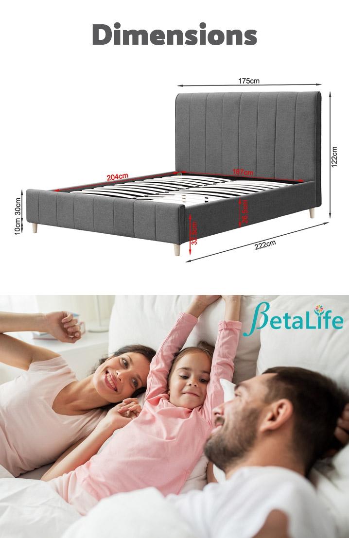 SIERRA Fabric Slat Bed with Headboard - KING BED