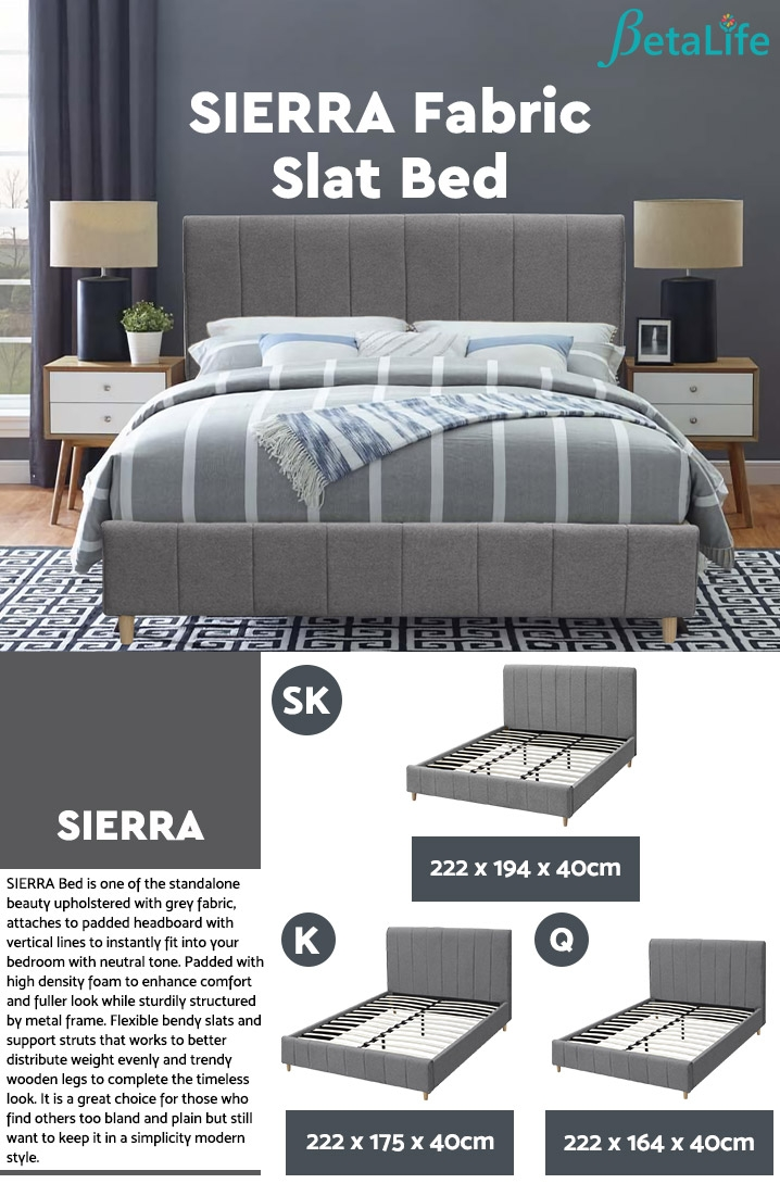 SIERRA Fabric Slat Bed with Headboard - SUPER KING BED