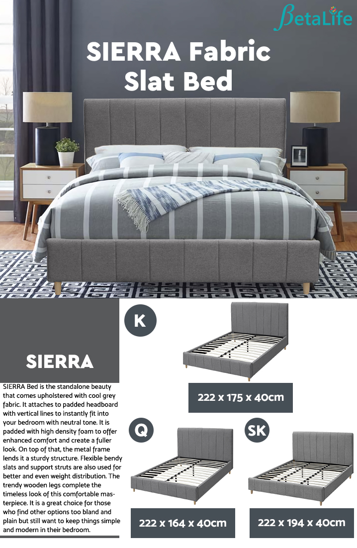 SIERRA Fabric Slat Bed with Headboard - KING BED