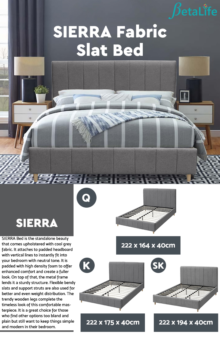 SIERRA Fabric Slat Bed with Headboard - QUEEN BED