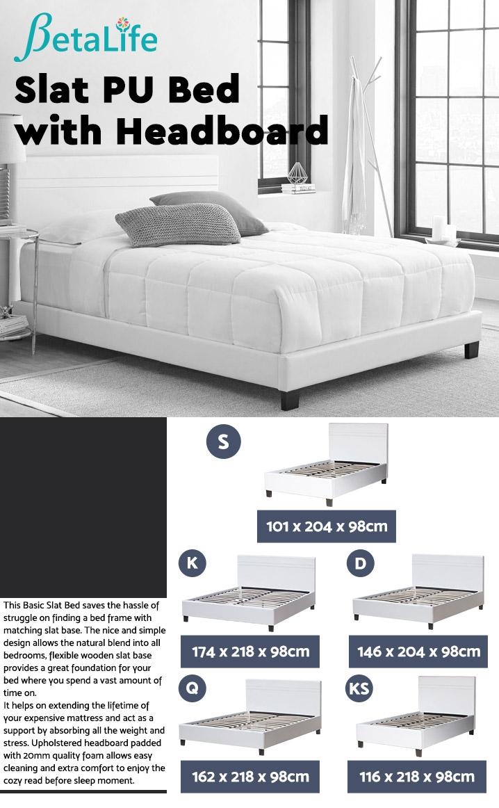 SINGLE Slat Bed with Headboard
