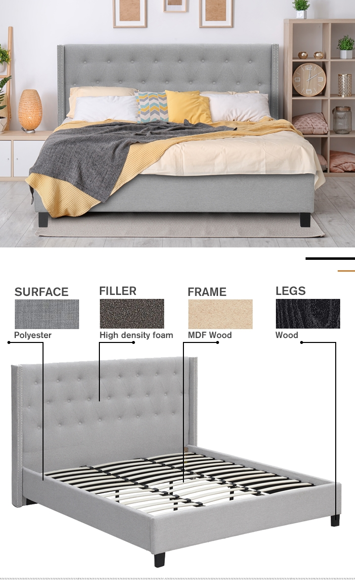 ELBRUS Fabric Slat Bed with Headboard - SUPER KING