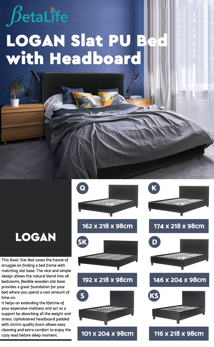 LOGAN QUEEN Slat PU Bed with Headboard
