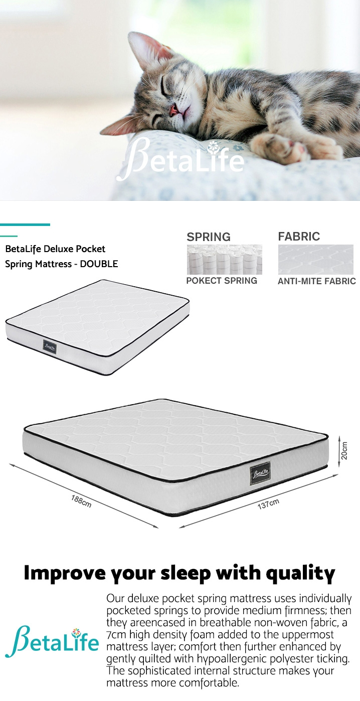 BetaLife Deluxe Pocket Spring Mattress - DOUBLE