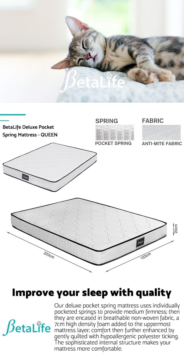 BetaLife Deluxe Pocket Spring Mattress - QUEEN