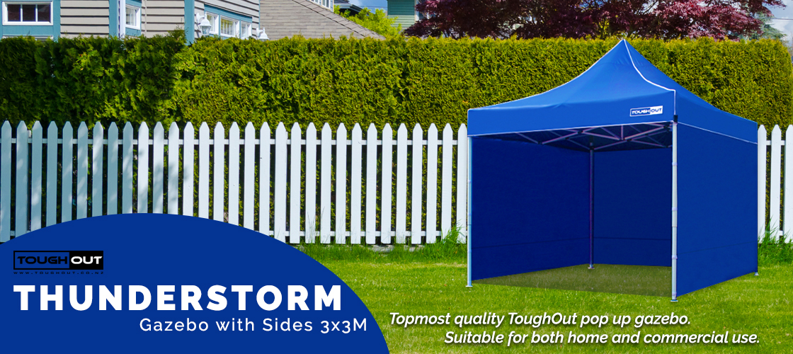 ToughOut Thunderstorm Pop Up Gazebo Tent with Sides 3M x 3M - BLUE