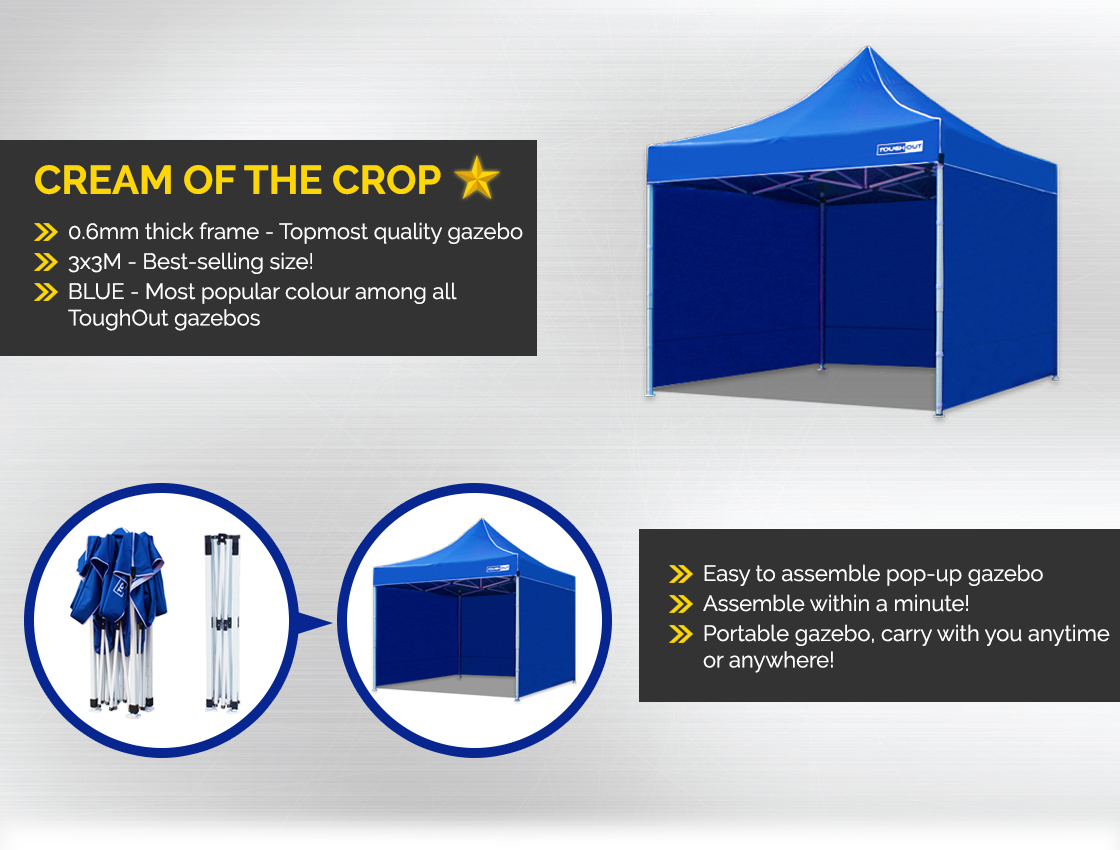 Cream of the Crop - ToughOut Thunderstorm Gazebo with Sides 3x3M BLUE